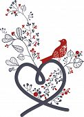 heart shape with floral bird