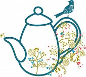 blue teapot with bird