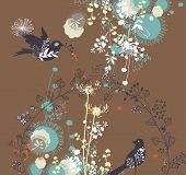 cute and sweet floral birds wallpaper