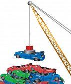 electromagnet lifting a crane