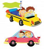 Постер, плакат: Иллюстрации шаржа детей в автомобилях
