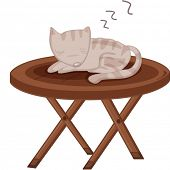 Illustration of a cat sleeping on a table