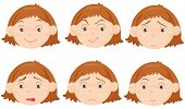 Illustration of six facial expressions