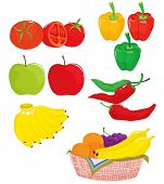 an illustration of different peppers and tomatoes