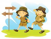 an illustration of a boy and girl scout