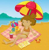 Ilustração de uma menina em uma praia