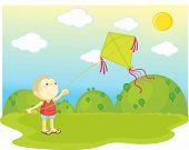 flying kite in a park