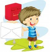 illustration of a boy showing envelope
