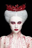 Mysterious Beauty Portrait Of Snow Queen Covered With Blood. Bright Luxury Makeup. White Demon Eyes. poster