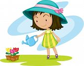 Illustration of a girl watering plants on a white background