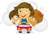 Illustration of three  kids  driving car on a white background