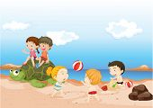 Illustration of Childrens Playing on Beach on colorful background