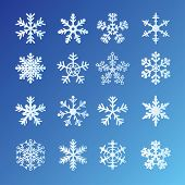 16 Snowflakes Set On Blue Background. Easy to edit vector.