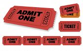 Admit One Vector Ticket Set