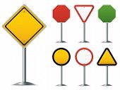Blank traffic sign set. Easy to edit vector image.