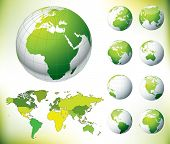 Vector Green Globe and World Map