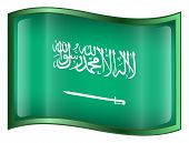 Saudi Arabia Flag Icon. ( With Clipping Path )