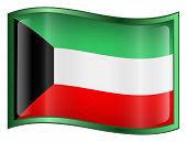 Kuwait Flag Icon. (With Clipping Path)