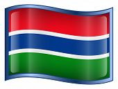 Gambia Flag Icon. (With Clipping Path)