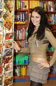 Pretty Teen And Bookstore