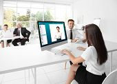 Woman video conferencing with lawyer on computer. Video call and online service concept. poster