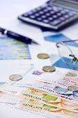 Singapore dollars money with calculator