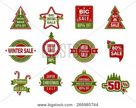 poster of Winter Holiday Sales. Christmas Badges Or Labels Retail Discount Deals Holidays Special Offers Of Ne