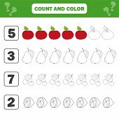 Mathematics Worksheet For Kids. Count And Color Educational Children Activity With Apple, Pear, Lemo poster