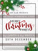 Vector Illustration Of Christmas Party Poster Template With Hand Lettering Label - Merry Christmas - poster