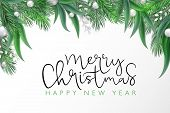 Vector Illustration Of Christmas Greeting Card Template With Hand Lettering Label - Merry Christmas  poster