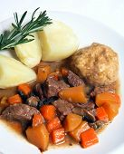 English Stew, Dumplings And Potatoes With Rosemary