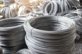 Stainless Steel Wire Rolls In Construction Site.closeup Of Metal Steel Reinforced Rod For Concrete I poster