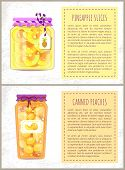 Pineapple Slices And Canned Peaches Posters Set With Text. Conserved Fruits Preservation Of Sweet De poster