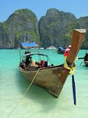 Long-tail boat in the Maya bay of Phi-Phi island