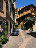 Narrow street of Menaggio town at the lake Como. Italy