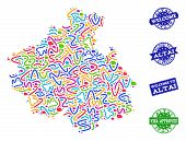 Welcome Combination Of Mosaic Map Of Altai Republic And Scratched Seal Stamps. Vector Greeting Water poster