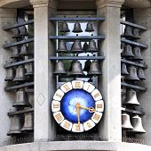 Famous clock on Bahnhofstrasse in Zurich, Switzerland