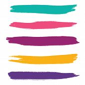 Vector Set Of Hand Drawn Horizontal Brush Strokes For Backdrops. Colorful Artistic Hand Drawn Elemen poster