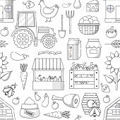 Vector Illustration With Cartoon Farm Market Background. Organic Farm Concept. Harvesting, Agricultu poster