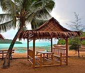 Bamboo pavilion on the beach