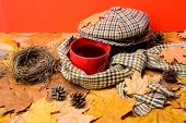 Mug Cozy Aromatic Tea Beverage Scarf And Hat. Hot Drink For Autumnal Walk. Warming Beverage. Mug Of  poster