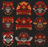 Vintage Firefighting Colorful Emblems Set With Skulls Wearing Fireman Helmet Gas Mask Eagle Wings Ax poster