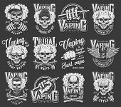 Vintage Vaping Logotypes Collection With Skulls Wearing Panama Hipster Hats Baseball Cap Crossed Smo poster