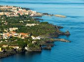 Panorama aerial on the sea and the home of village of the lemons coast in sicilia