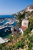 Panorama aerial on the harbour and the homes of village Amalfi