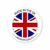 Modern Vector Made In The Uk Label Isolated On White Background, Simple Sticker With British Colors, poster