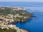 Panorama aerial on the sea and the home of village of the lemons coast in Sicily