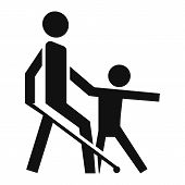 Kid Guide Blind Man Icon. Simple Illustration Of Kid Guide Blind Man Vector Icon For Web Design Isol poster