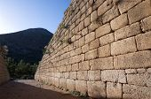 wall Cyclopean, constituting a primitive style of masonry characterized by the use of massive stone