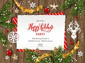 Holiday Christmas Card With Fir Tree And Festive Decorations Balls, Stars, Snowflakes On Wood Backgr poster